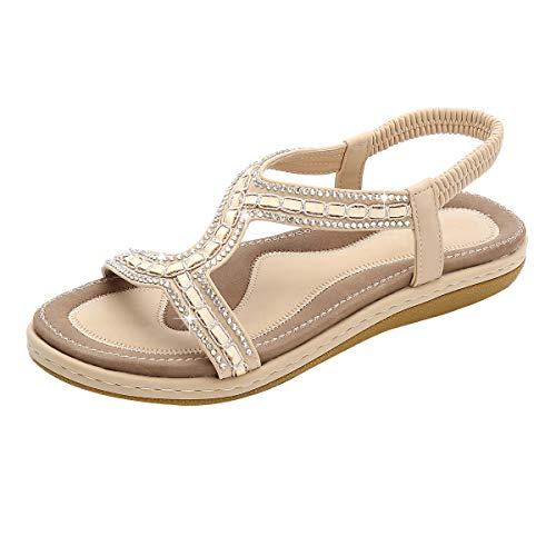 Women's Summer Flat Sandals,Ladies Outdoor Open-Toe Square Heel Shoes Ankle Strap Fish Mouth Elegant Plus Size Soft Sandals (Beige, ()