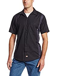 Dickies Occupational Workwear LS524BKCH XL Polyester/ Cotton Men's Short Sleeve Industrial Color Block Shirt, Extra Large, Black/ Dark Charcoal