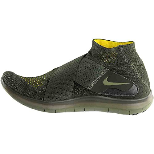 NIKE Mens Free RN Motion Flyknit 2017 Running Shoe Black/Dark Grey-Anthracite-Volt 9.0 (8 D(M) US, Medium Olive)