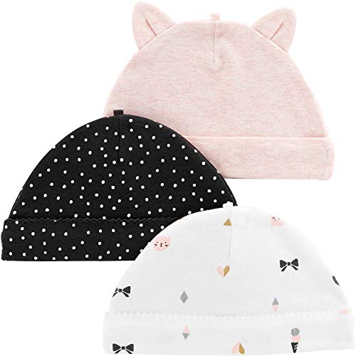 Carters Baby Girls 3-pk. Kitty Hats One Size Pink/Black/White