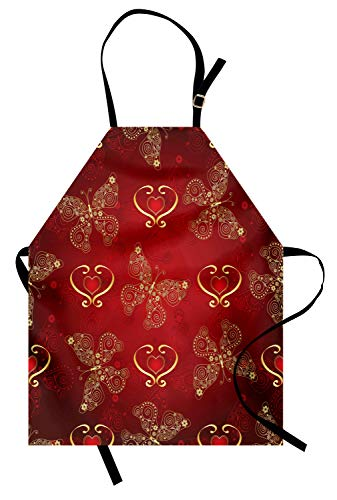 Lunarable Maroon Apron, Valentines Day Romance Swirled Lines Ornate Lace Style Butterflies Hearts, Unisex Kitchen Bib with Adjustable Neck for Cooking Gardening, Adult Size, Yellow Vermilion