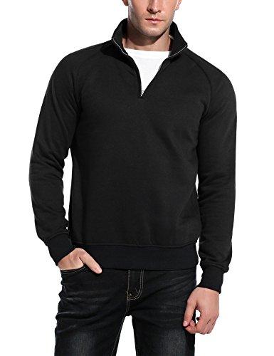 (COOFANDY Men's Relaxed Fit Mock Neck Polo Quarter Zip Pullover Collar Sweatshirt (02-Black, XX-Large))