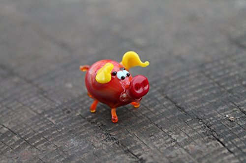 Glass pig ornament, small glass pig figurine, glass pig statue, small pig ornament, gift for pig lover, glass pig figure, miniature (Murano Glass Pig Figurine)