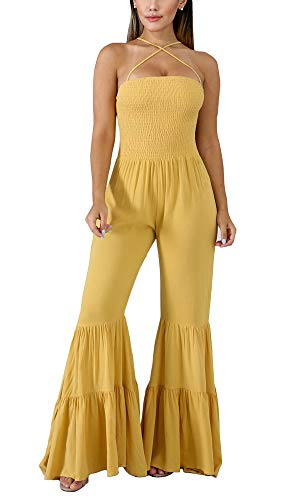 (Cocktail Jumpsuits for Women Evening Party - Spaghetti Strap Summer Elegant Sleeveless Bodycon Solid Smocked Flare Bell Bottom Wide Leg Long Pants Cami Jumpsuit Romper Outfits Yellow, Small)