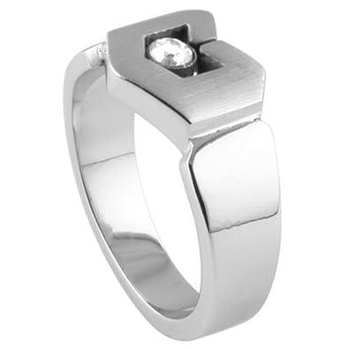 JewelryVolt Stainless Steel Ring Modern CZ