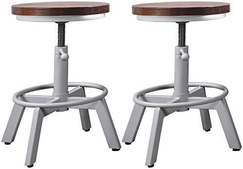 BOKKOLIK Set of 2 Industrial Bar Stools Short Stool Swivel Wooden Seat Kitchen Island Chairs Counter Height Adjustable 15.2-21inch