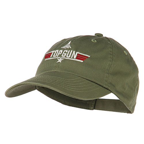 US Navy Top Gun Fighter Embroidered Washed Cap - Olive OSFM