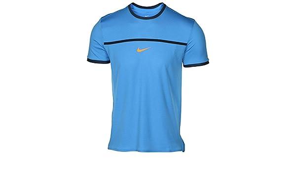 Nike Rafa Nadal M Chllgr Top SS Premier Camiseta de Manga Corta, Hombre, Azul (Lt Photo Blue Total Orange), M: Amazon.es: Deportes y aire libre