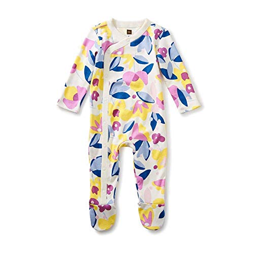 - Tea Collection Footed Romper, Florals in Bloom, White Background with Yellow, Pink and Blue Flowers (3-6 Months)