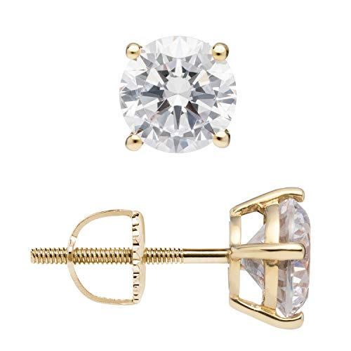 (14K Solid Yellow Gold Stud Earrings | Round Cut Cubic Zirconia | Screw Back Posts | 1.50 CTW | With Gift Box)