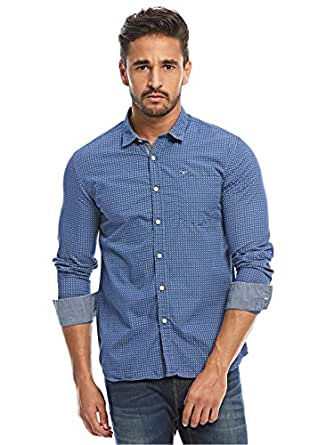 Flying Machine Blue Shirt Neck Shirts For Men