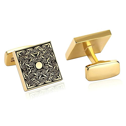 (Vintage Mens Cufflinks Flower Pattern Square Stainless Steel Cufflinks Gold Black Dad Unique Jewelry Box Fancy Elegant Aooaz)
