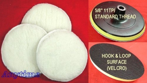 7'' POLISHER/BUFFER SOFT WOOL BONNET & PAD with HOOK & LOOP for POLISHING/BUFFING