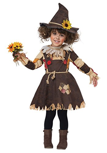 Girls Toddler Pumpkin Patch Scarecrow Costume Small Brown -