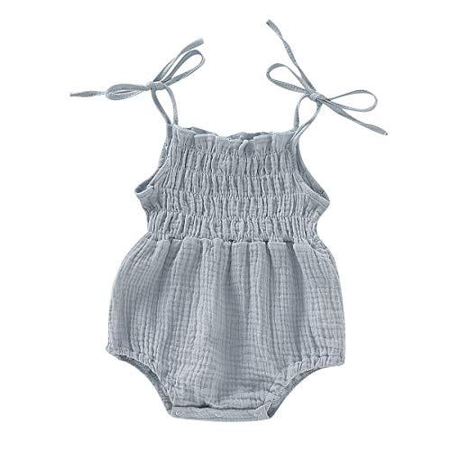 ZOELNIC Baby Girls Sleeveless Romper Toddler Girl Floral Bow Halter + Headband (Light Blue, 3-6 Months)