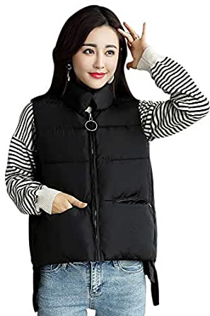 XFentech Women Winter Gilet - Women Quilted Zip Gilet Hooded Sleeveless High Neck Vest Jacket,Black,US 2XL=Tag 3XL