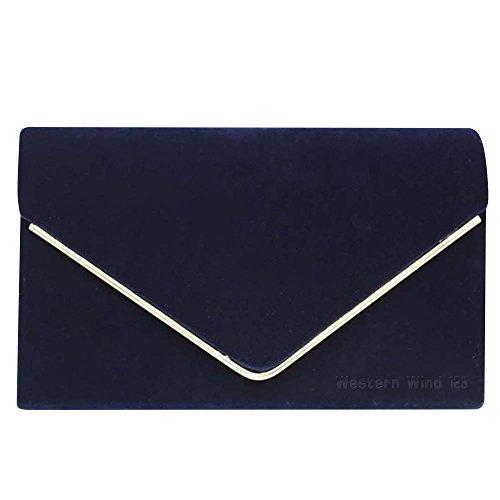 Wocharm Ladies Lavish Envelope Suede Velvet Womens Party Prom Wedding Clutch Bag Purse Bag Shoulder Handbag Navy Blue