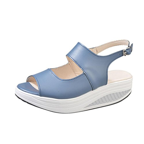 Outsta Women Shake Sandals, Summer Fish Mouth Thick Bottom High Heel Sandals Shoes (Blue, US:8)
