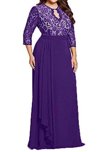 Lila Promkleider Braut Brautmutterkleider Lang Ballkleider Langarm Abendkleider La Festlich Uebergroesse mia S7vq1w1U