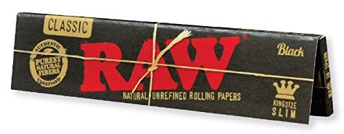 RAW Black Classic Natural Unrefined Rolling Papers - Ultra Thin - 110mm King Size Slim - (6) (Black Clove Cigarettes)
