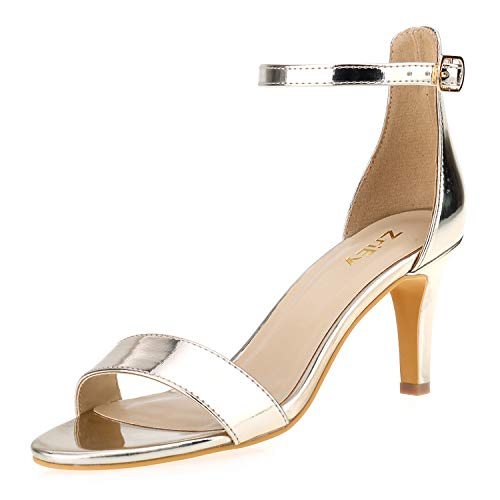 ZriEy Women's Heeled Sandals Ankle Strap High Heels 7CM Open Toe Mid Heel Sandals Bridal Party Shoes Gold Size 10 for $<!--$32.99-->