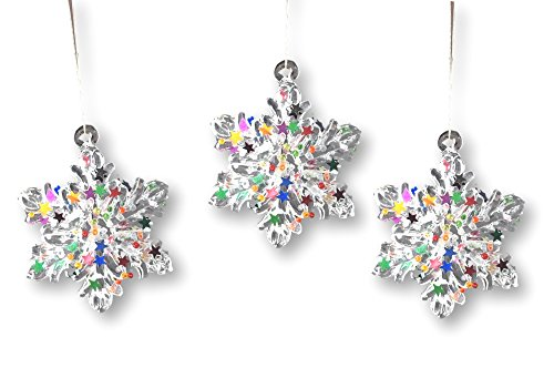 Spun Glass Ornament - Glass Snowflakes - Set of 3 Spun Glass Snowflakes with Confetti Glitter - Snowflake Decorations - Hanging Snowflake Ornaments