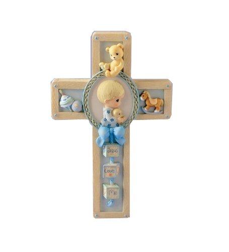 Precious Moments Boy With Bear Praying Cross,