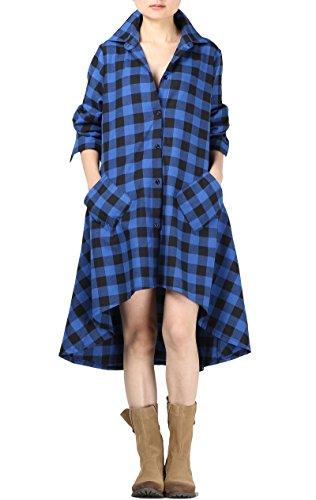 Mordenmiss Women's New Plaid Long Sleeve Button Down Hi-Low Hem Shirt Dress ()
