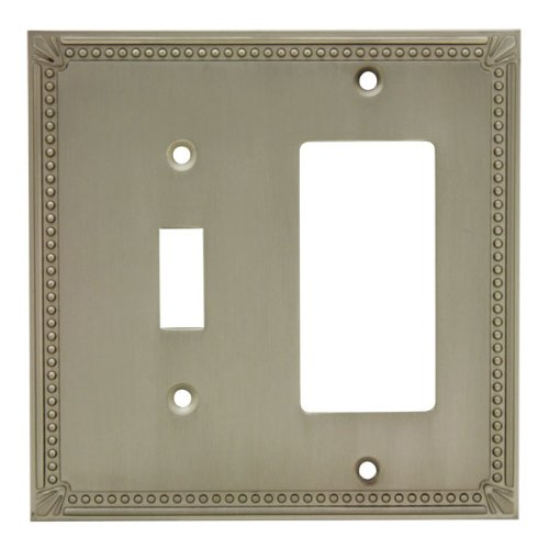 Cosmas 44072-SN Satin Nickel Single Toggle / GFI Decora Rocker Combo Wall Switch Plate Switchplate Cover