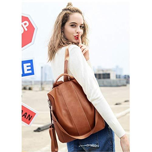 ALOVEMO Synthetic Leather Backpack for Women Anti-theft Rucksack Ladies Shoulder Bag (Brown) - http://medicalbooks.filipinodoctors.org