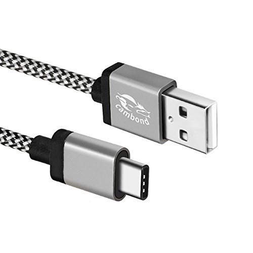 USB Type C Cable Cambond Braided Charging Cable Cord 10ft Long for Galaxy Note 8, S8, S8+, MacBook, Nintendo Switch, Google Pixel, Sony XZ, LG V20 G5 G6, HTC 10, Nexus 6p 5X and More Grey