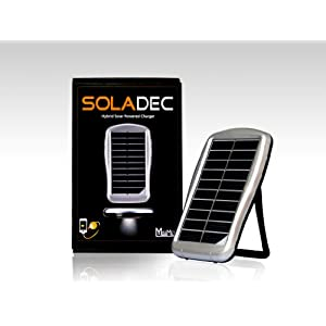 Soladec Hybrid All-in-One Portable Solar Power Charger and External Battery Pack with Integrated Ultra High-Flux LED Light for iPod, iPhone, iPad and Other USB Devices