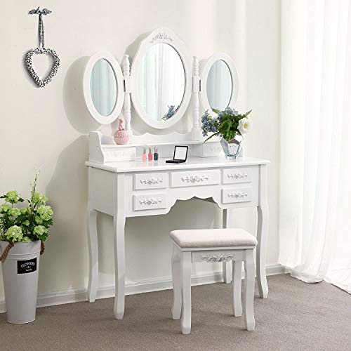 Makeup Vanity Table Set, Trifold Mirrors Dressing Table with Cushioned Stool &7 Drawers Storage Organizer for Bedroom Furniture/Gift (Tri-Folding Mirror, ()