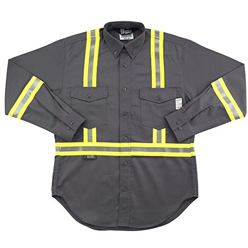 Oil and Gas Safety Supply Flame Resistant FR Reflective Button Shirt L Gray