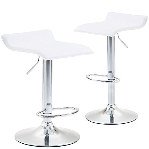warm pastoral Modern PU Leather Adjustable Bar Stools, Set of 2, Counter Height Chrome Finished Swivel Dining Chairs, White Hydraulic Stools for Kitchen (Chair Swivel Cushion Dining)
