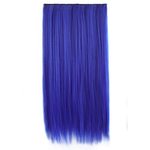 "MapofBeauty 23"" 58cm Multi-color Long Straight 5 Clip Hair Extension Hair Hairpiece (Royal Blue)"