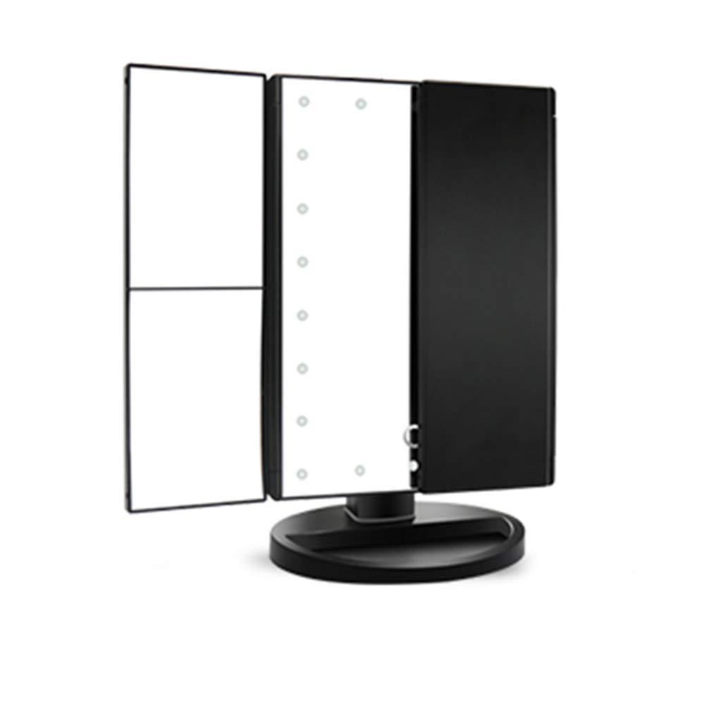 WYMI 22 LED Espejo De Maquillaje Carga con USB O Bater/ía Espejo De Sobremesa con Pantalla T/áctil 1 X 2 X 3 Lupa Rotaci/ón De Adjustable 180/º Plegable para El Hogar Mujeres Ni/ñas Belleza,Black