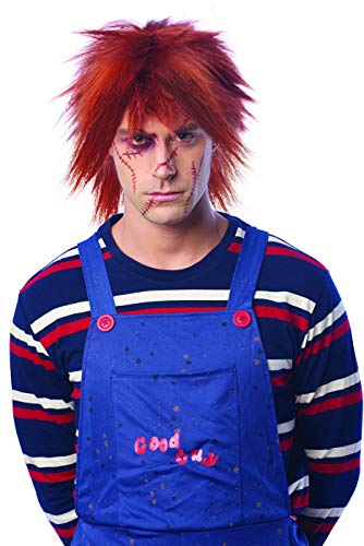 Red Chucky Wig (Adult Evil Doll Red Chucky Costume)
