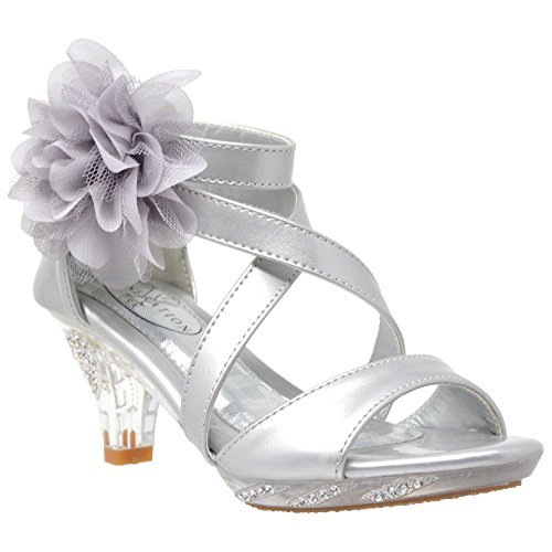 (Generation Y Kids Dress Sandals Girls Clear Rhinestone Low Heel Side Flower Back Zipper Silver SZ 2)