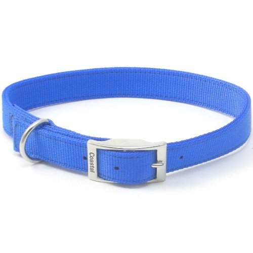 Nylon Double Ply Dog Collar (Coastal Pet Products DCP290120BLU Nylon Double Dog Collar, 1 by 20-Inch, Blue)