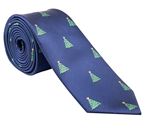(Holiday Christmas Ties for Men - Blue Tie with Christmas Trees - Cool Mens)
