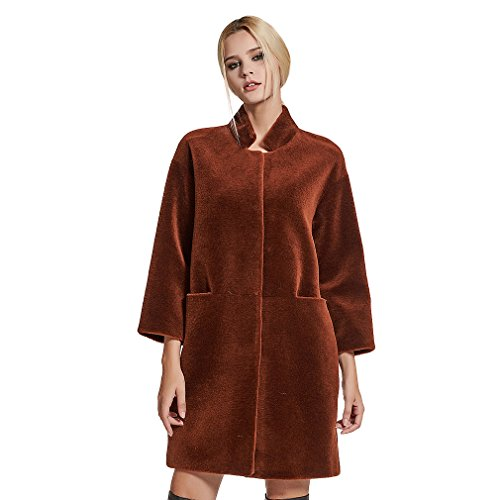 Fur Story Women's Long Lamb Coat Warm Fashion Shearling Coat 3/4 Sleeve Stand up Collar US10 (Caramel)