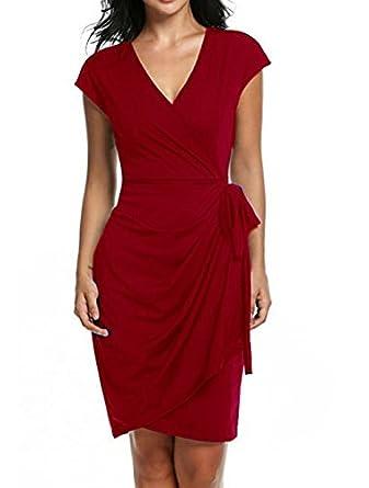 837a6219ac5 Aitos Femme Robe Ete Courte Portefeuille Cache Coeur Sans Manches Mode De  Soirée Elégante Col V