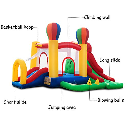 Costzon Inflatable Bounce House, Mighty Balloon Double Slide Bouncer with Basketball Hoop, Climbing Wall, Large Jumping Area, Ideal Kids Jumper (Without Blower) by Costzon (Image #5)