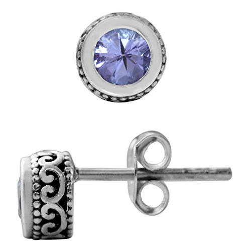 Genuine Tanzanite 925 Sterling Silver Filigree Stud Earrings