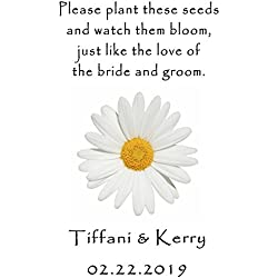 Personalized Wedding Favor Wildflower Seed Packets White Daisy Design 6 verses to choose from Set of 100