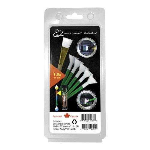 Visible Dust EZ Sensor Cleaning Kit PLUS with 1.15ml Smear Away, 5 Green 1.0x Vswabs, Sensor Brush