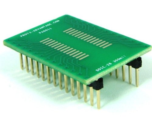 Proto-Advantage SOIC-28 to DIP-28 SMT Adapter (1.27 mm Pitch, 300 mil Body) ()