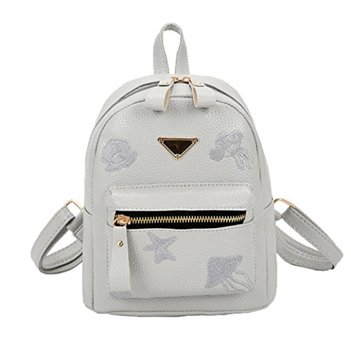 Preppy Backpack Shoulder School Leather Girl Bag Gray Women Zipper Fashion Bag Small Solid Bag Style dgqZwtdF