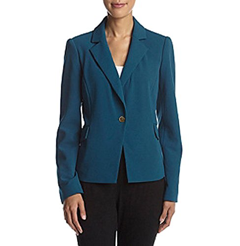 Blazer Collar Single Button (Calvin Klein Single-Button Crepe Blazer (Cypress, 4) (Cypress, 2))
